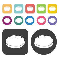Circle bed icons. Bed mattress set. Round and rectangle colourfu