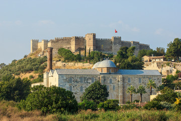 Beautiful view of Roman fortress at Ayasuluk Hill, Selcuk town