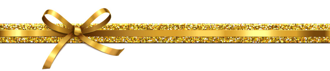 Goldene Schleife mit Glitter-Band