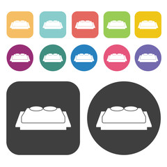 Chinese bed icons. Bed mattress set. Round and rectangle colourf