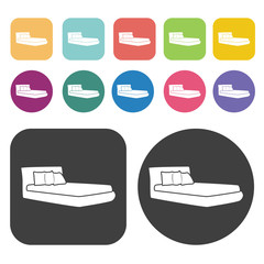 Simple bed icons. Bed mattress set. Round and rectangle colourfu
