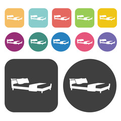 Comfortable bed icons. Bed mattress set. Round and rectangle col