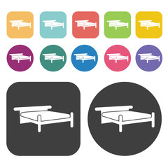 Bamboo bed icons. Bed mattress set. Round and rectangle colourfu