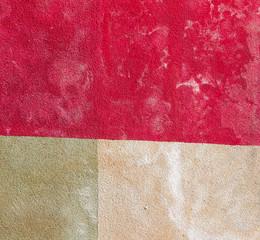 coloured wall split into three square panel