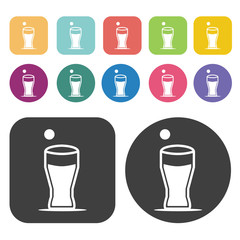 Soda glass icons. Party beer set. Round and rectangle colourful