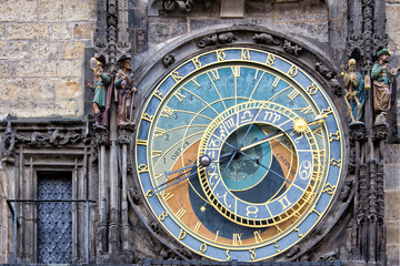 The Prague medieval astronomical clock, Czech Republic