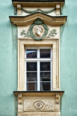 Classical colorful window in Prague, Czech Republic