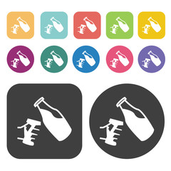 Bottle pouring drink icons. Party beer set. Round and rectangle