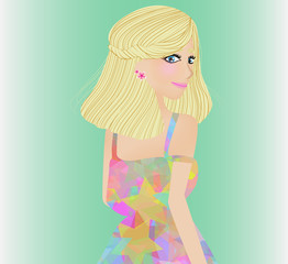 blonde woman in colorful star pattern dress.