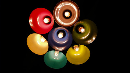 Set of Different colored lamps
