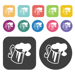 Mug of beer spill out icons. Party beer set. Round and rectangle