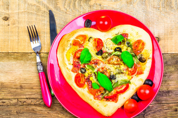 delicious italian pizza served wooden table