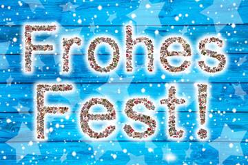 Frohe Weihnachten Text in blau und weiß
