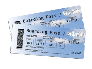 Two airline boarding pass tickets to Wien