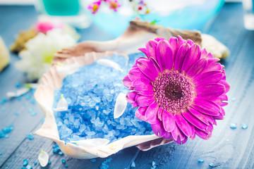 Spa concept aromatic flower bath salt
