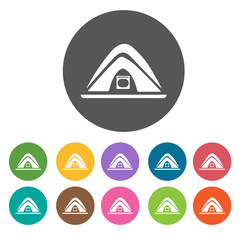 Tent icons. Camping hiking set. Round colourful 12 buttons. Vect