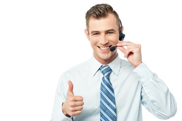 Helpline operator showing thumbs up