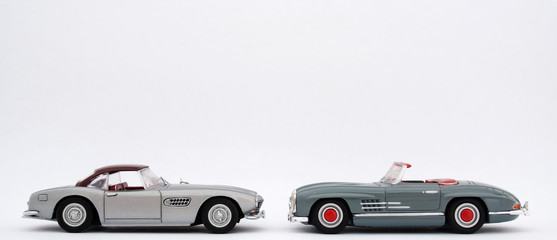 Classic Silver Grey Retro Sports Cars
