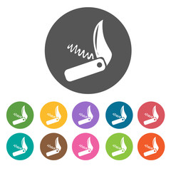 Utility knife icons. Camping hiking set. Round colourful 12 butt