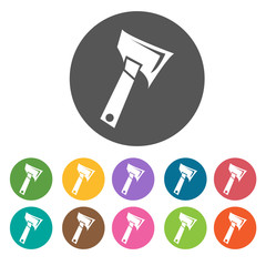 Camping axe icons. Camping hiking set. Round colourful 12 button