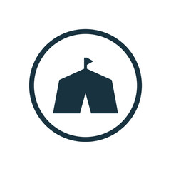 tent circle background icon.