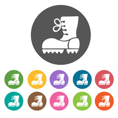 Camping boots icons. Camping hiking set. Round colourful 12 butt