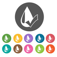 Water droplets icons. Camping hiking set. Round colourful 12 but