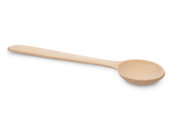 Close-up top view of wooden spoon isolated over white.
