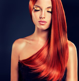 Fototapety Beautiful model with long red hair