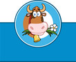 Cartoon Label With Cow