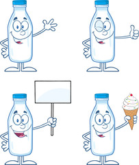 Funny Milk Bottle Cartoon Mascot Characters 2. Collection Set