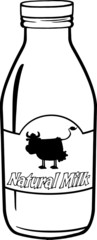 Black And White Cartoon Milk Bottle With Label And Text