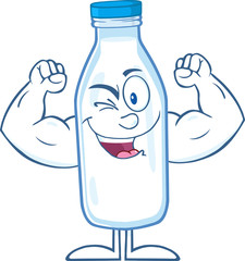 Winking Milk Bottle Cartoon Mascot Character Showing Muscle Arms