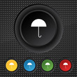 Umbrella sign icon. Rain protection symbol. Set colourful