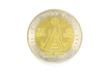 10 thai baht coin isolated on white background