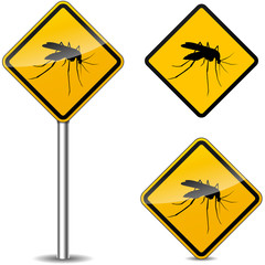 Vector mosquito yellow signs