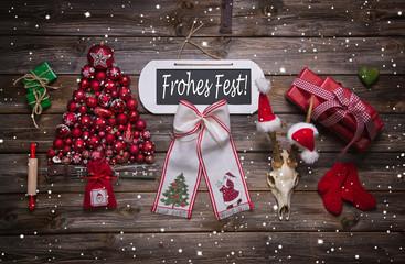 Weihnachtskarte rot weiß mit Text: Frohes Fest