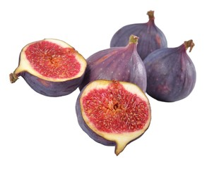 Fresh figs halved on a white