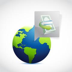 globe money message bubble illustration design
