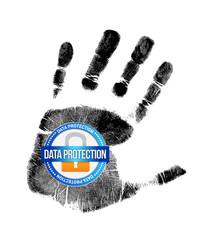data protection and handprint illustration design