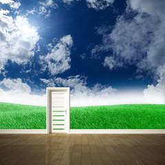 Tür vor grüner Wiese