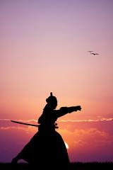 Samurai with sword at sunset