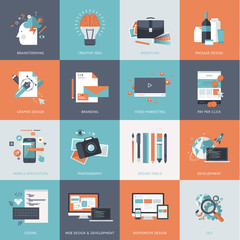 Flat design icons for website, app and design development