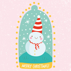 Cute Christmas illustration in cartoon style.