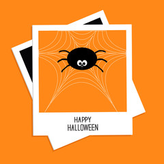 Instant photo with spider on the web. Halloween Flat