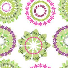 Seamless pattern with round flower pattern