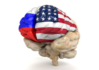 USA and Russia relations represented with split brain
