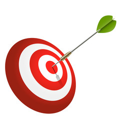 Dartscheibe mit Pfeil in Bullseye