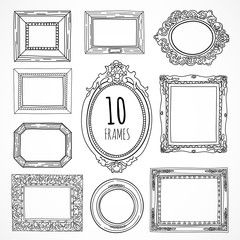 Hand drawn vintage frames made in vector