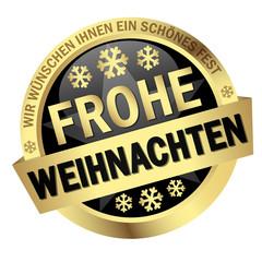 """Button mit Banner """" FROHE WEIHNACHTEN """""""